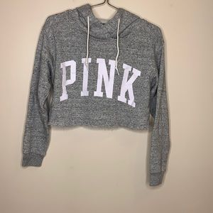 Pink Victoria's Secret   Gray Cropped Hooded Shirt